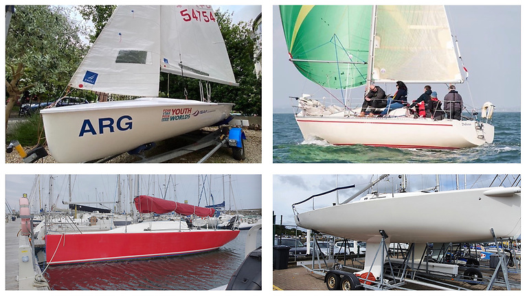 Racing boats for sale from Leinster Boats (clockwise from top left): 420 dinghy, First 28, J80 and Corby 25