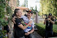 stage winner Daryl Impey (ZAF/Mitchelton-Scott) celebrating with DS Matt Wilson after returning to the team hotel<br /> <br /> Stage 9: Saint-Étienne to Brioude(170km)<br /> 106th Tour de France 2019 (2.UWT)<br /> <br /> ©kramon