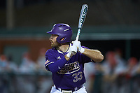 Seth Graves (33) of the Western Carolina Catamounts at bat against the St. John's Red Storm at Childress Field on March 12, 2021 in Cullowhee, North Carolina. (Brian Westerholt/Four Seam Images)