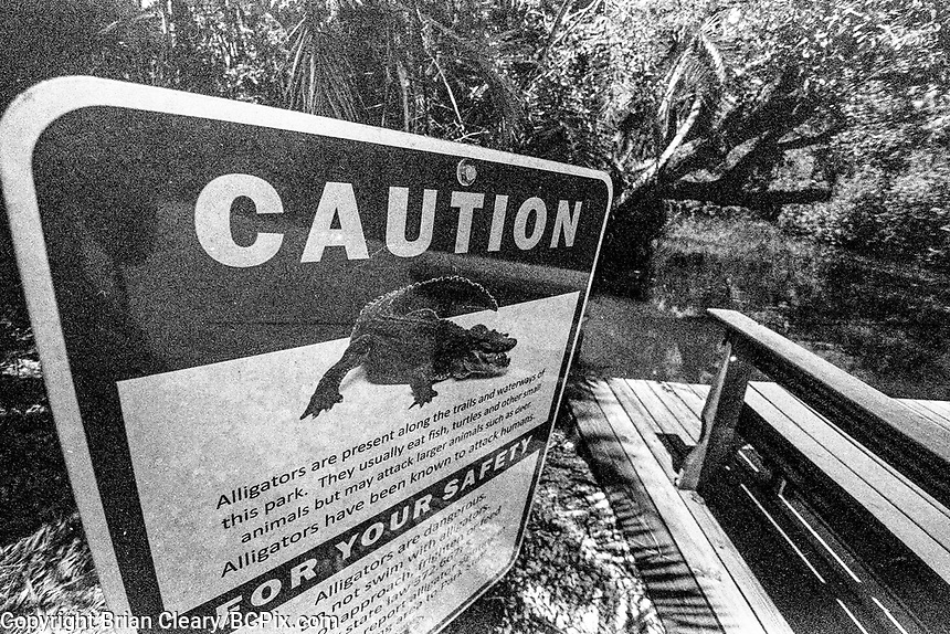 Alligator Warning Sign, Estero River, Koreshan Unity Settlement, Estero, FL, Canon EOS 650, 35mm SLR film camera, August 2018.  (Photo by Brian Cleary/www.bcpix.com)