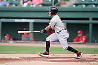 Second baseman Frainyer Chavez (5) of the Hickory Crawdads in a game against the Greenville Drive on Friday, June 18, 2021, at Fluor Field at the West End in Greenville, South Carolina. (Tom Priddy/Four Seam Images)
