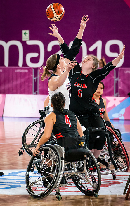 Arinn Young, Lima 2019 - Wheelchair Basketball // Basketball en fauteuil roulant.<br /> Canada takes on the USA in the gold medal game in women's wheelchair basketball // Le Canada affronte les États-Unis dans le match pour la médaille d'or en basketball en fauteuil roulant féminin. 30/08/2019.