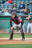 Aramis Garcia (49) of the Sacramento River Cats on defense against the Salt Lake Bees at Smith's Ballpark on April 12, 2019 in Salt Lake City, Utah. The River Cats defeated the Bees 4-2. (Stephen Smith/Four Seam Images)