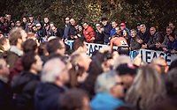 Mathieu Van der Poel (NED) taking the lead and cheered on by the crowd. <br /> <br /> UEC CYCLO-CROSS EUROPEAN CHAMPIONSHIPS 2018<br /> 's-Hertogenbosch – The Netherlands<br /> Men Elite Race