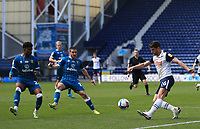 2nd April 2021; Deepdale Stadium, Preston, Lancashire, England; English Football League Championship Football, Preston North End versus Norwich City; Ched Evans of Preston North End crosses the ball into the Norwich penalty area