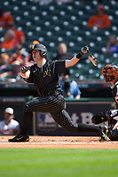 Pat DeMarco (18) of the Vanderbilt Commodores follows through on his swing against the Sam Houston State Bearkats in game one of the 2018 Shriners Hospitals for Children College Classic at Minute Maid Park on March 2, 2018 in Houston, Texas.  The Bearkats walked-off the Commodores 7-6 in 10 innings.   (Brian Westerholt/Four Seam Images)