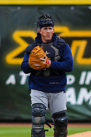 San Antonio Missions catcher Skyler Ewing in the bullpen during a Pacific Coast League game against the Iowa Cubs on May 2, 2019 at Principal Park in Des Moines, Iowa. Iowa defeated San Antonio 8-6. (Brad Krause/Four Seam Images)