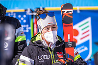 13th February 2021, Cortina, Italy; FIS World Championship Womens Downhill Skiing;  silver medal winner Kira Weidle of Germany reacts after the race