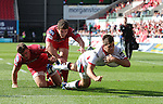 Guiness Pro12<br /> Ulster full back Louis Ludik dives in the corner to score a late second half try.<br /> Scarlets v Ulster<br /> Parc y Scarlets<br /> <br /> 06.09.14<br /> ©Steve Pope-SPORTINGWALES