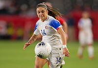 CARSON, CA - FEBRUARY 07: Priscila Chinchilla #14 of Costa Rica moves to the ball during a game between Canada and Costa Rica at Dignity Health Sports Complex on February 07, 2020 in Carson, California.