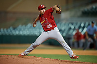 Palm Beach Cardinals relief pitcher Paul Balestrieri (46) delivers a pitch during a game against the Florida Fire Frogs on May 1, 2018 at Osceola County Stadium in Kissimmee, Florida.  Florida defeated Palm Beach 3-2.  (Mike Janes/Four Seam Images)
