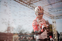 Caleb Ewan (AUS/Lotto-Soudal) at the sign-on podium at the race start in front of the Castello Sforzesco<br /> <br /> 110th Milano-Sanremo 2019 (ITA)<br /> One day race from Milano to Sanremo (291km)<br /> <br /> ©kramon