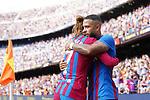 FC Barcelona's Antoine Griezmann and Memphis Depay celebrate goal during La Liga match. August 29, 2021. (ALTERPHOTOS/Acero)