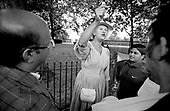 An eccentric Christian argues with hecklers at Speakers Corner, Hyde Park, London. Women speakers are very much in the minority