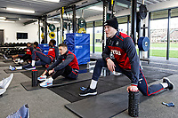 Alfie Mawson (R) and team mates exercise in the gym during the Swansea City Training Session and Press Conference at The Fairwood Training Ground, Wales, UK. Thursday 29 March 2018