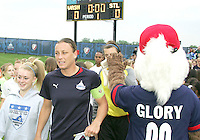 Abby Wambach #20 of the Washington Freedom leads out the team before the match against St. Louis Athletica during a WPS match at the Maryland Soccerplex on May 3, 2009 in Boyds Maryland. The game ended in a 3-3 tie.