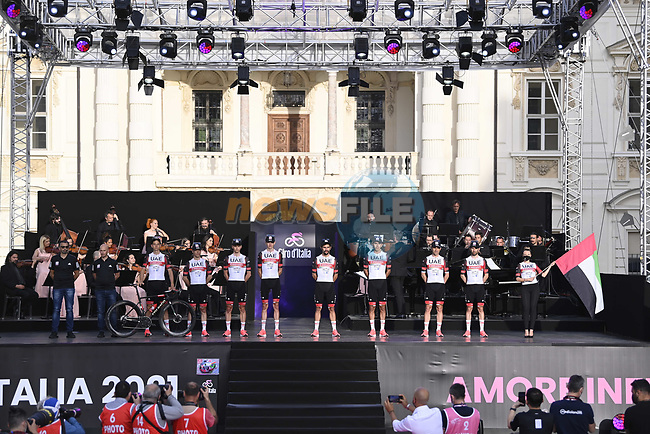 UAE Team Emirates on stage at team presentation of the 2021 Giro d'Italia inside the Cortile d'Onore of the Castello del Valentino, on the occasion of the 160th anniversary of the Unification of Italy, Turin, Italy. 6th May 2021.  <br /> Picture: LaPresse/Fabio Ferrari | Cyclefile<br /> <br /> All photos usage must carry mandatory copyright credit (© Cyclefile | LaPresse/Fabio Ferrari)