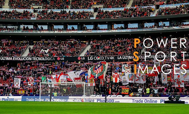 Soccer fans of Atletico de Madrid gather in Wanda Metropolitano and show their supports to their team prior to the La Liga 2018-19 match between Atletico de Madrid and Deportivo Alaves on December 08 2018 in Madrid, Spain. Photo by Diego Souto / Power Sport Images