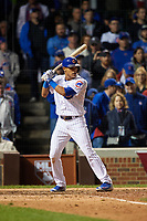Chicago Cubs Addison Russell (27) bats in the ninth inning during Game 4 of the Major League Baseball World Series against the Cleveland Indians on October 29, 2016 at Wrigley Field in Chicago, Illinois.  (Mike Janes/Four Seam Images)