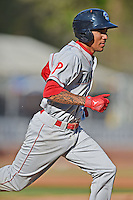 Lakewood BlueClaws shortstop J.P. Crawford #2 runs to first during a game against the Asheville Tourists at McCormick Field on May 3, 2014 in Asheville, North Carolina. The BlueClaws defeated the Tourists 7-4. (Tony Farlow/Four Seam Images)