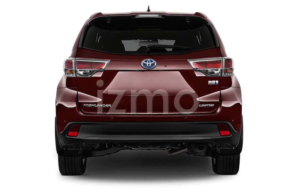 Straight rear view of a 2015 Toyota Highlander Limited Hybrid 4x4 5 Door SUV Rear View  stock images