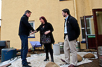 Wednesday 19 February 2014<br /> Pictured:( L-R )  Prime Minister David Cameron talks to Pub Landlady Lisa Clifton and MP Stephen Crabb<br /> Re: Prime Minister David Cameron Visits Flood victims at the Duke of Edinburgh public house in Newgale, Pembrokeshire, Wales