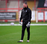 Lincoln City's first team goalkeeping coach Steve Croudson during the pre-match warm-up<br /> <br /> Photographer Andrew Vaughan/CameraSport<br /> <br /> The EFL Sky Bet League One - Accrington Stanley v Lincoln City - Saturday 21st November 2020 - Crown Ground - Accrington<br /> <br /> World Copyright © 2020 CameraSport. All rights reserved. 43 Linden Ave. Countesthorpe. Leicester. England. LE8 5PG - Tel: +44 (0) 116 277 4147 - admin@camerasport.com - www.camerasport.com