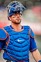 22 September 2018: New York Mets catcher Kevin Plawecki awaits the start of play against the Washington Nationals at Nationals Park in Washington, DC. The Nationals shut out the Mets 6-0 in the 3rd game of their 4-game series. Mandatory Credit: Ed Wolfstein Photo *** RAW (NEF) Image File Available ***
