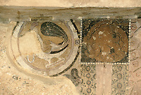 Fresco on the left side of the 34 meters Bamiyan Buddha..A bird with a necklace in is beak, mixture between Persian and Indian style. And on is right, a creature of the ocean of Greek style..Hazarajat, Afghanistan.