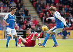 St Johnstone v Aberdeen…01.07.17  McDiarmid Park     Pre-Season Friendly <br />Greg Tansey battles with Stefan Scougall and Murray Davidson<br />Picture by Graeme Hart.<br />Copyright Perthshire Picture Agency<br />Tel: 01738 623350  Mobile: 07990 594431