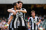 Juventus' player Medhi Benatia celebrates with Juventus' player Alberto Cerri after scoring during the South China vs Juventus match of the AET International Challenge Cup on 30 July 2016 at Hong Kong Stadium, in Hong Kong, China.  Photo by Marcio Machado / Power Sport Images