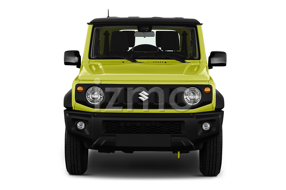 Car photography straight front view of a 2019 Suzuki Jimny GLX 5 Door SUV Front View