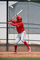 Philadelphia Phillies Dalton Guthrie (4) during a Minor League Spring Training game against the Toronto Blue Jays on March 30, 2018 at Carpenter Complex in Clearwater, Florida.  (Mike Janes/Four Seam Images)