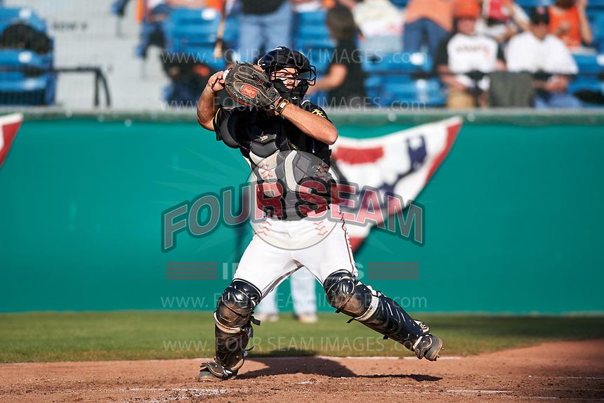 San Jose Giants catcher John Riley (15) during a California League game against the Visalia Rawhide on April 13, 2019 at San Jose Municipal Stadium in San Jose, California. Visalia defeated San Jose 4-2. (Zachary Lucy/Four Seam Images)