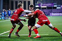 16th October 2020, Stade Maurice David, Aix-en-Provence, France;  Challenge Cup Rugby Final Bristol Bears versus RC Toulon;  Baptiste Serin (RC Toulon) stops Harry Randall (Bristol Bears) with Raphael Lakafia (RC Toulon)