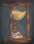Conceptual shot of woman trapped in hourglass representing menopause