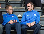 St Johnstone v Inverness Caley Thistle...08.08.15...SPFL..McDiarmid Park, Perth.<br /> Saints injured duo Steven Anderson and Dave Mackay watch from the stands<br /> Picture by Graeme Hart.<br /> Copyright Perthshire Picture Agency<br /> Tel: 01738 623350  Mobile: 07990 594431