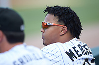 Yermin Mercedes (27) of the Charlotte Knights watches from the dugout during the game against the Gwinnett Braves at BB&T BallPark on July 14, 2019 in Charlotte, North Carolina.  The Stripers defeated the Knights 5-4. (Brian Westerholt/Four Seam Images)