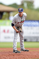 Fort Myers Miracle pitcher Steven Gruver (33) delivers a pitch during a game against the Charlotte Stone Crabs on April 16, 2014 at Charlotte Sports Park in Port Charlotte, Florida.  Fort Myers defeated Charlotte 6-5.  (Mike Janes/Four Seam Images)