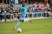 SAN JOSE, CA - AUGUST 17: Romain Metanire #19 of Minnesota United dribbles the ball during a game between San Jose Earthquakes and Minnesota United FC at PayPal Park on August 17, 2021 in San Jose, California.