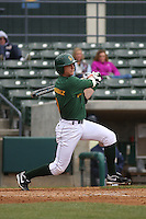 George Mason outfielder Blaise Fernandez #9 at bat during a game against the West Virginia Mountaineers at BB&T Coastal Field on February 26, 2012 in Myrtle Beach, SC.  George Mason defeated West Virginia 1-0. (Robert Gurganus/Four Seam Images)