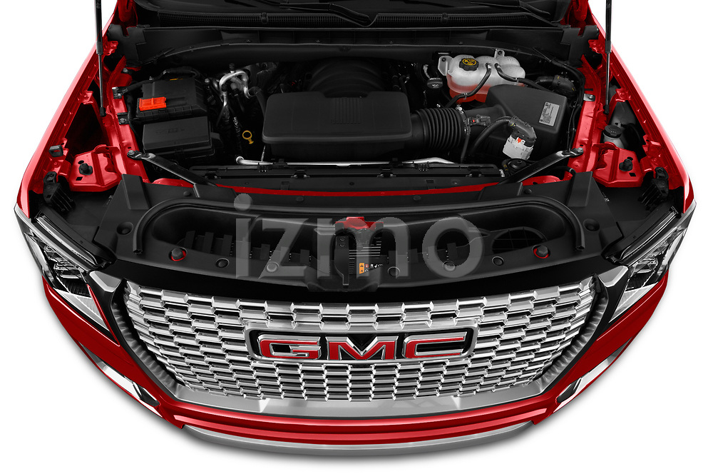 Car Stock 2021 GMC Yukon-Denali - 5 Door SUV Engine  high angle detail view