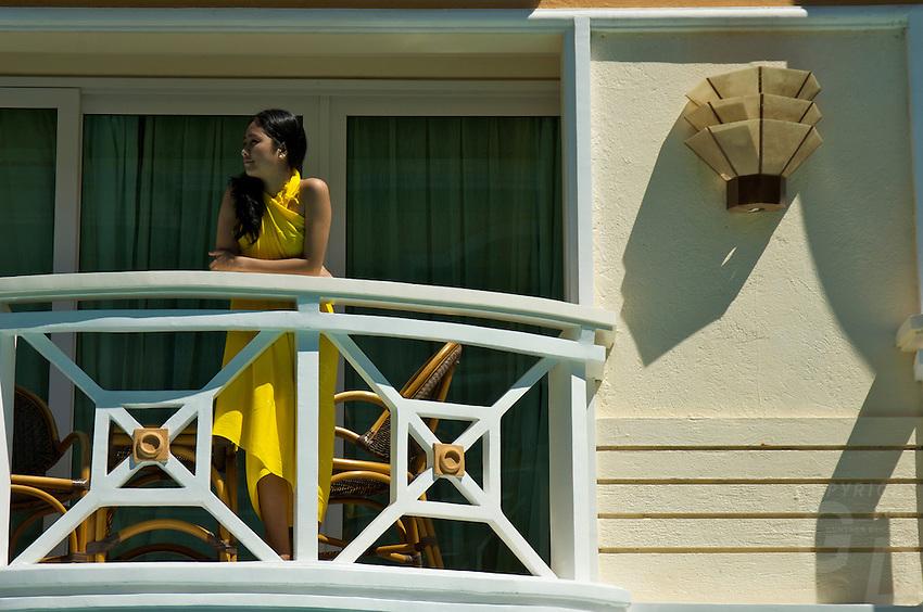 Girl on a Balcony at a resort on Boracay Island Philippines