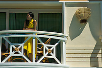 Girl on a Balcony at a resort on Boracay Island Philippines