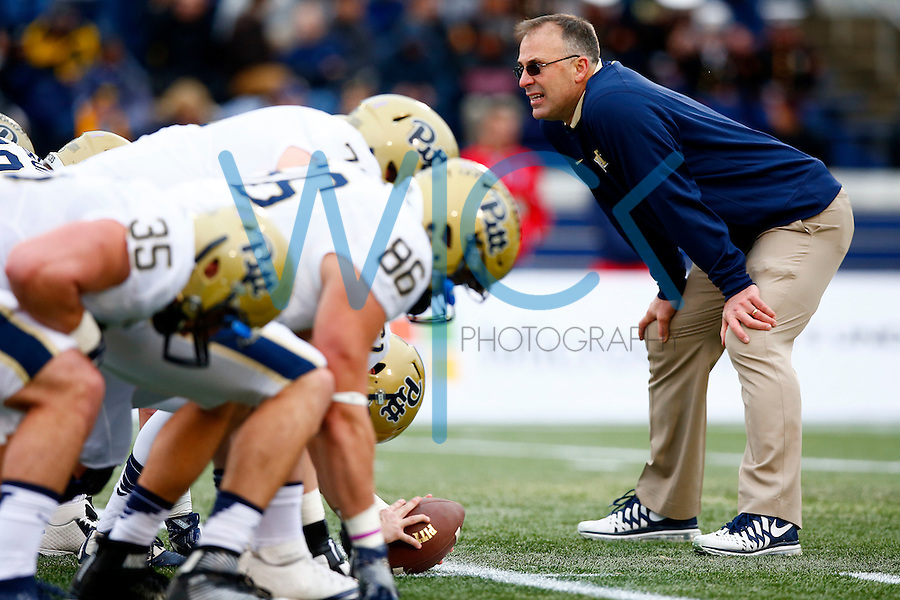 Head coach Pat Narduzzi of the Pittsburgh Panthers looks on during a pre game kicking warm up prior to the Military Bowl game against the Navy Midshipmen at Navy Marine Corps Memorial Stadium on December 28, 2015 in Annapolis, Maryland. (Photo by Jared Wickerham/DKPittsburghSports)