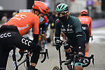 Daniel Oss (ITA) Bora-Hansgrohe stops for a chat at sign on before the start of the 108th Edition of Scheldeprijs 2020 running 173.3km from Schoten to Schoten, Belgium. photo Peter De Voecht/PN/BettiniPhoto©2020. 14th October 2020.  <br /> Picture: Bora-Hansgrohe/Peter De Voecht/PN/BettiniPhoto | Cyclefile<br /> <br /> All photos usage must carry mandatory copyright credit (© Cyclefile | Bora-Hansgrohe/Peter De Voecht/PN/BettiniPhoto)