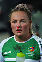 Manawatu's Carys Dallinger is substituted during the 2021 Farah Palmer Cup women's rugby match between Manawatu Cyclones and Hawkes Bay Tuis at CET Stadium in Palmerston North, New Zealand on Friday, 6 August 2021 Photo: Dave Lintott / lintottphoto.co.nz