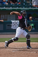 Charlotte Knights catcher Seby Zavala (5) during the game against the Gwinnett Stripers at Truist Field on May 9, 2021 in Charlotte, North Carolina. (Brian Westerholt/Four Seam Images)