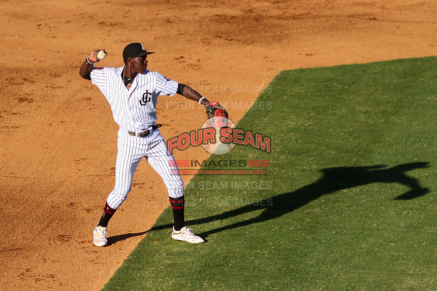 Jackson Generals shortstop Jazz Chisholm (3) throws to first base between innings of a Southern League game against the Biloxi Shuckers on June 13, 2019 at The Ballpark at Jackson in Jackson, Tennessee. Jackson defeated Biloxi 5-4. (Brad Krause/Four Seam Images)
