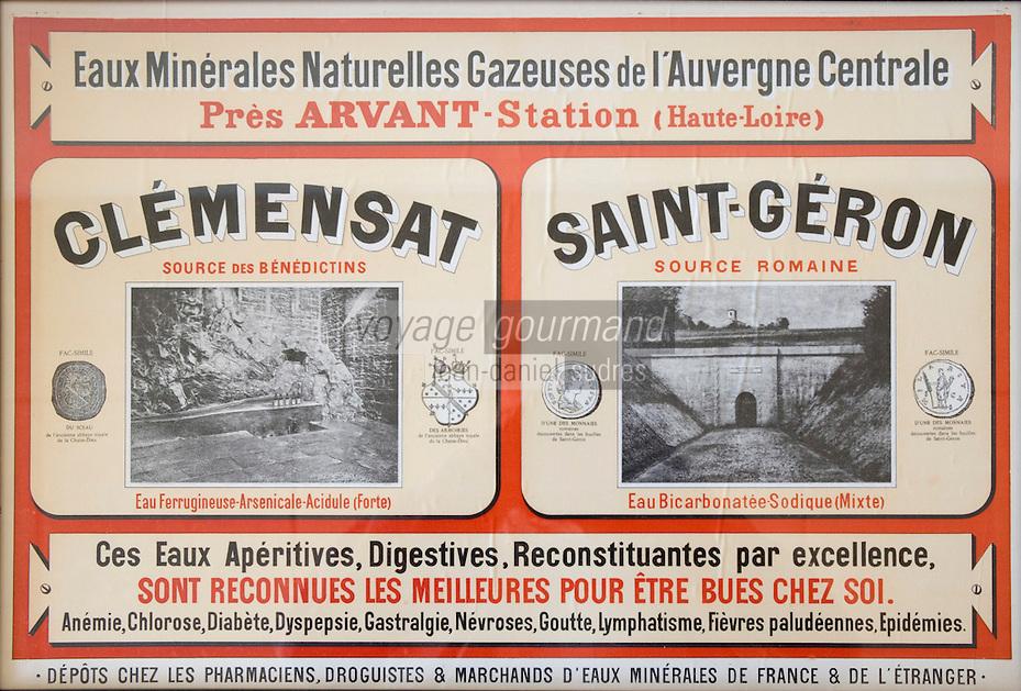 Europe/France/Auvergne/43/Haute-Loire/Saint-Géron:Ancienne publicité pour l'eau  minérale de Saint-Géron //  France, Haute Loire, Saint Geron, old advertisement for mineral water of St. Géron